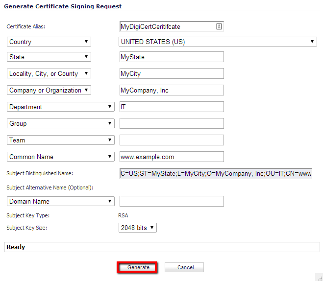 Sonicwall CSR Creation - Enter CSR details.
