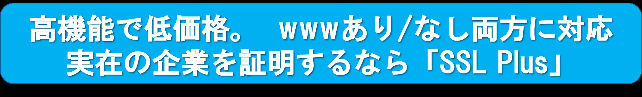 ひとつのサーバ証明書でwwwあり/なし両方に対応し、実在の企業を証明「Standard SSL(SSL Plus)」